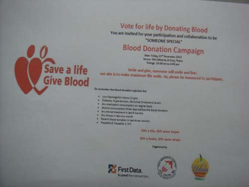 Blood Donation First Data, Thane (2013)
